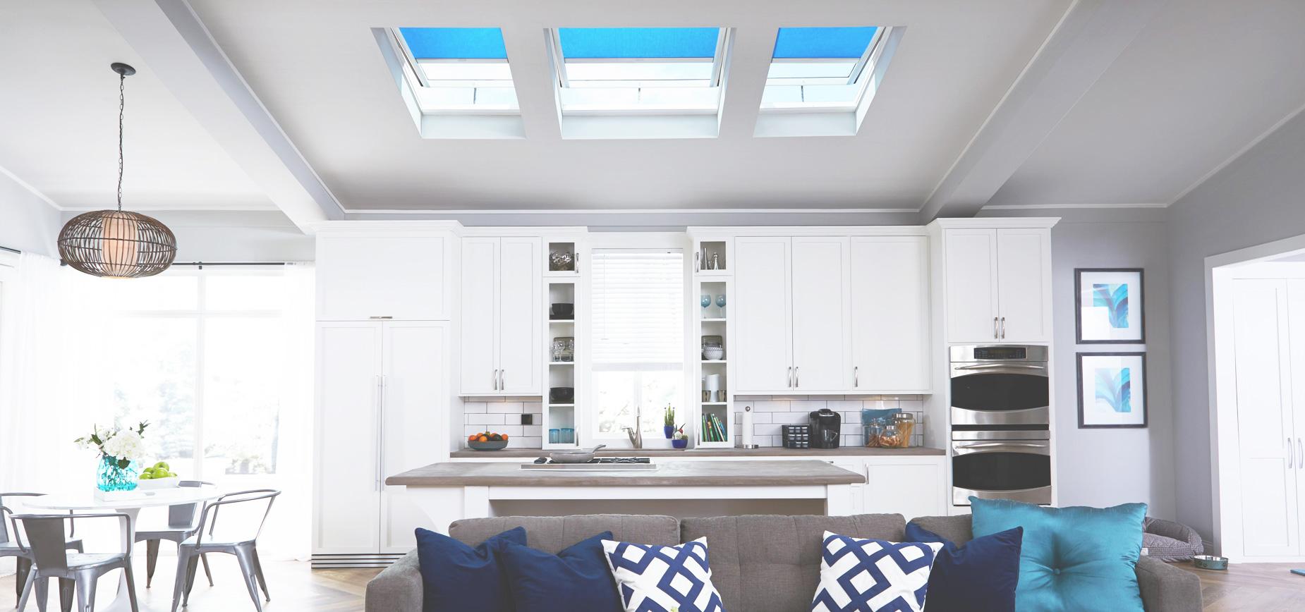 Kitchen blinds house dublin Blue velux white roller blinds