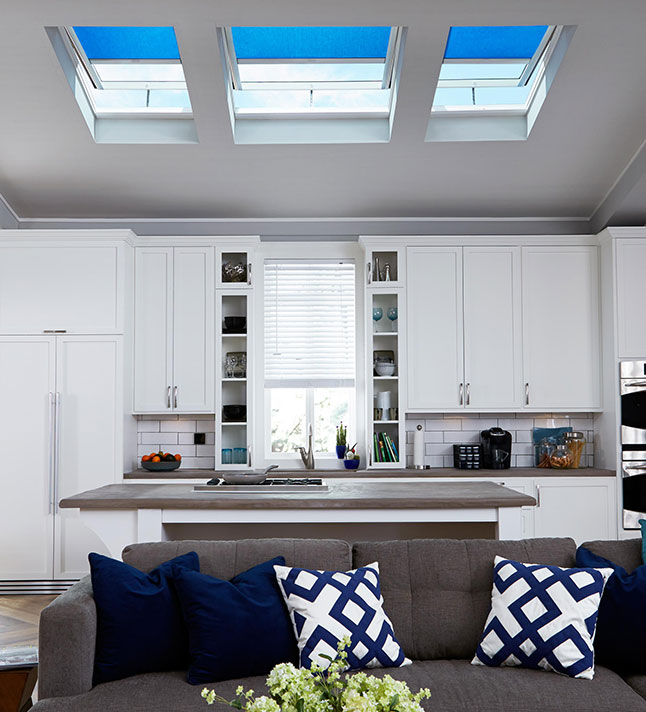 Kitchen with Velux Blinds in Blue